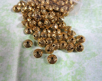 100 Antique Gold Saucer Spacer Beads 6.5mm (B403f)