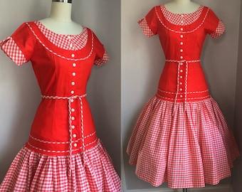 Vintage 1950's Blood Orange and Gingham Full Skirt Dress Size XS