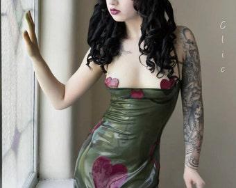 Latex Half Cup Ruched Front Heart Halterneck Dress - Violeteyes for Black Sheep Latex