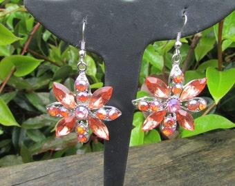 Vintage 90s earrings, long orange floral design, dangle drop earrings, long drop earrings.