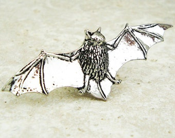 Bat Tie Pin. Antiqued Pewter Tie Tack Pin