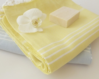 Turkish Towel, Peshtemal, Natural Soft Cotton Bath, Spa,  Beach Towel, For Mother, Yellow, Mother's day gift, bathroom