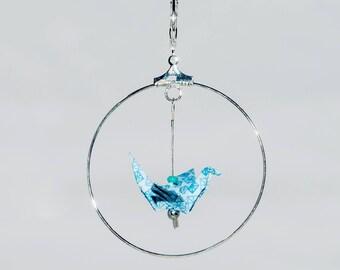 Citrine chips patterns geometric snowflake blue origami cranes earrings