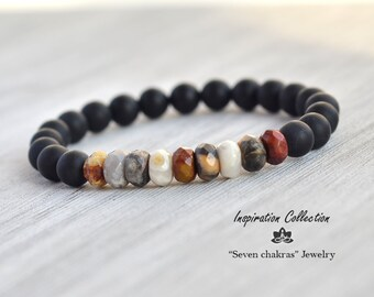 Faceted Agate Bracelet|Mens bracelet|Faceted Agate Bead Bracelet|Gemstone Bracelet|Faceted Agate Yoga Bracelet|Gift for men