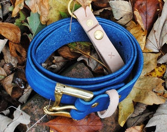 """Clobbercalm X Pigeon Tree Crafting Collaboration Belt- 1.5"""" Indigo Quick Release with Natural Vegetable Tanned Leather Keeper Made to Order"""