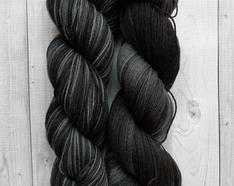 Gemstones Sock Yarn, Charcoal, hand dyed yarn