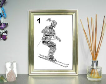 Personalised Skier - Word Art Print. 3 Variations. FREE UK P&P. Winter Sports, Word Cloud Picture, Word Collage, Digital art