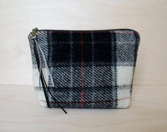 Wool Makeup Bag in Black, Gray, and Red Plaid /  Pouch / Cosmetics Bag / Travel Bag / Wool Pouch / Plaid Wool