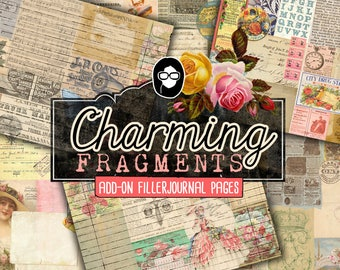 Journaling Kit - Charming Fragments Add On - 6 Journal Pages - art journal kit, junk journal cover, junk paper pack, digital paper pack