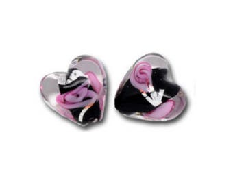 Set of 2 black and Pink Hearts 12 mm x 12 mm lampwork glass beads