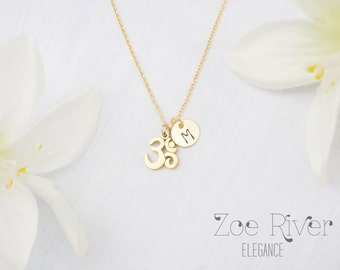 Tiny gold, silver or rose gold Om necklace  Inspirational necklace. Simple and elegant om pendant