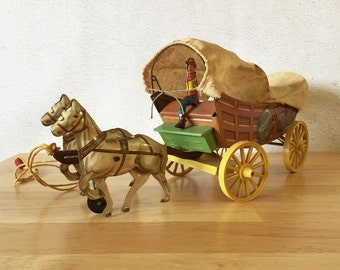 Vintage Tin Toy 1940s Conestoga Wagon Covered Wagon Toy Northwestern Toy Company / Western Tin Horse Wagon Pull Toy / Childs Room Decor