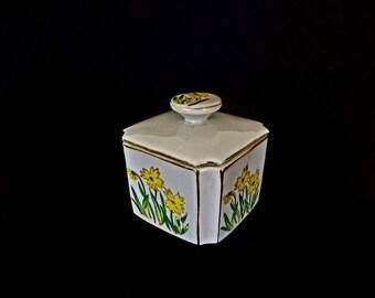 Vintage I Rice Dresser Box, Trinket Box, Hand Painted Porcelain, IRice Decor, Porcelain Box, Made in Japan, Decorative Box