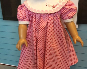 18 inch doll clothes-Pink and Red LOVE Hearts Valentine's Party Dress