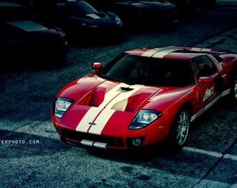 Automotive Decor, Exotic Car Art, Boys room decor, Garage Decor, Supercar Art, Large Wall Art, Red Ford GT