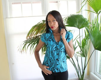 Quirky Ankara Cotton Blouse.