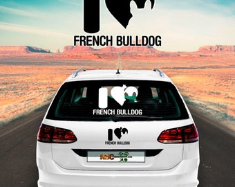 Car Sticker Dog French Bulldog -i love
