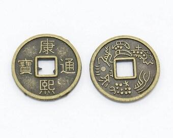 Charm coin, feng shui, kangxi, 10 x 1 set of 20