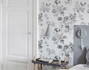 Garden rose & Flower mix pattern removable wallpaper, Tulips nursery wallpaper, Petunia flower wall covering, Floral wall sticker, 116