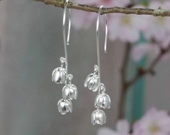 Bluebell  Flower Earrings - Sterling Silver Dangle Earrings - Satin Finish - Dangle - Drop   - Long Earrings
