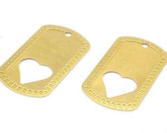 Heart Hole Tag, 4 Raw Brass Military Tags With Heart (50x28x0.80mm) B-17