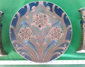 Vintage Bella Casa by Ganz -- Valerio Collection Round Platter and Matching Set of Candle Holders