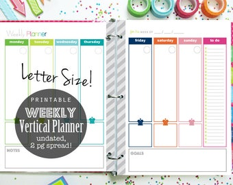 Weekly Planner Printable 2 page spread, undated - INSTANT DOWNLOAD - with Menu Planning for Daily Planner or Home Binder