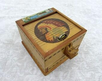 Vintage Wood Cigarette Dispenser Box - Japan - 1950s Cape Cod Souvenir - Tobacciana