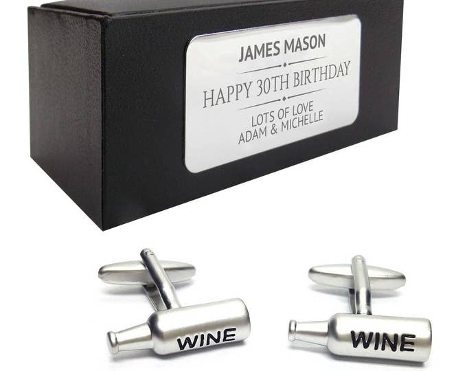 Wine bottle CUFFLINKS 30th, 40th, 50th, 60th, 70th birthday gift, presentation box PERSONALISED ENGRAVED plate - 042