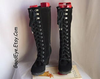 Vintage Lace Up Granny Knee Boots / size 6 Eu 36 UK 3 .5 / Black Suede Leather Shoes /  Chunky Heel Platforms