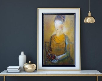 Female figure lady abstract art, Yellow abstract painting modern portrait, long narrow wall canvas on oil on canvas original art trending