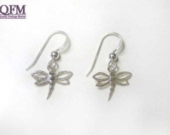 A pair of Shiny Sterling Silver 925 Dragon Fly Earrings 22 mm