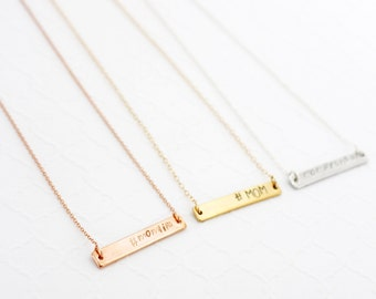 Personalized Bar Necklace Mom, Gift For Mom To Be Jewelry, Birthday Gift For Mom From Son and Daughter, Hashtag Mom Necklace From Daughter
