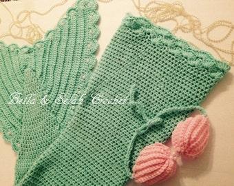 Crochet Mermaid Tail, Mermaid Tail with Shell Top, Baby Mermaid tail, Toddler Mermaid Tail