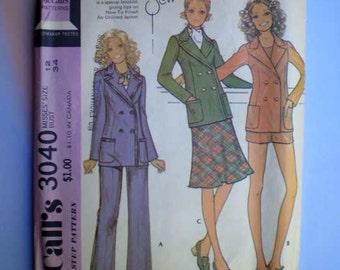 Vintage 70s Pattern Hot Pants Jacket Pants Skirt 34