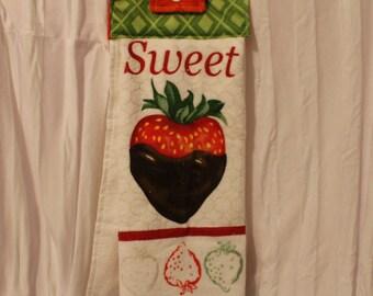 SALE Sweet Strawberry Hanging Tea Towel / Kitchen Towel