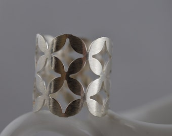 Extra Wide Sterling Silver Pattern Ring - Silver Statement Ring