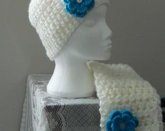 Hat and Scarf Set - Cream with Turquoise flower