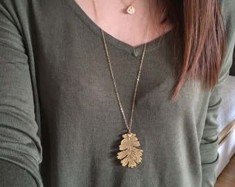 Gold Dipped Natural Leaf Necklace / Long, Layer, Gold Filled Chain, Oak, Maple, Cottonwood / Anabel Nove