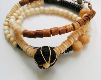 Natural Tribal barkcloth necklace, wrapped bracelet, fair trade jewelry, eco jewelry, asymmetric necklace, horn and wood necklace