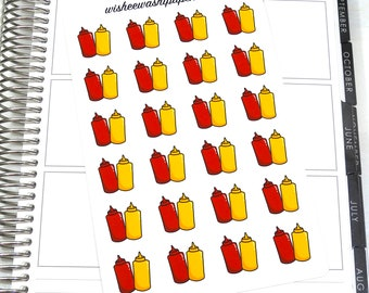 Ketchup & Mustard Stickers - Doodle Stickers - Planner Stickers