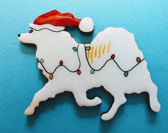 American Eskimo Dog Christmas Pin, Magnet or Ornament -Free Shipping -Hand Painted- Free Personalization Available