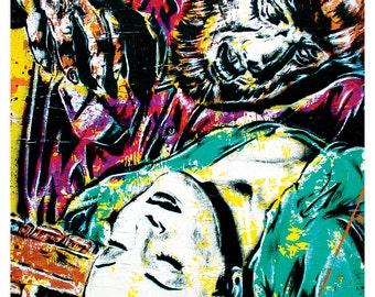 "18 x 24"" Art print Poster - The Wolfman - Lon chaney horror film halloween classic"
