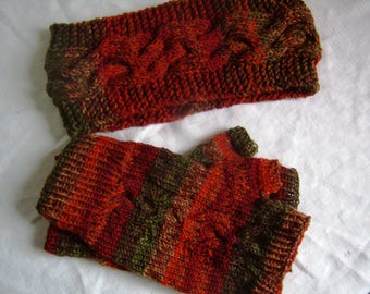 Set of Fingerless gloves and headband, cable knit hand Warmers for men