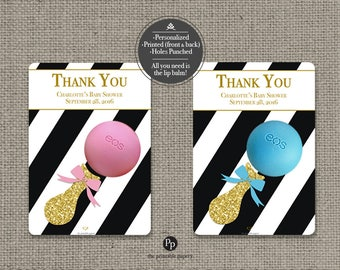 Printed Baby Shower Sprinkle Party Favors for EOS lip balm   Thank You Tags  Stripe Glitter eos tags   12 Favor Tags  No. P-STP-EOS