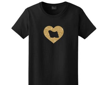 Puli Dog Silhouette Glitter Heart T-Shirt Tee - Men, Women Ladies Female, Youth Kids, Long Sleeve Hungarian