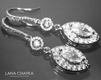 Crystal Bridal Earrings, Cubic Zirconia Marquise Earrings, Chandelier Crystal Wedding Earrings, Long Dangle Earrings, Bridal Prom Jewelry