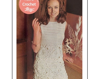 1970s Flower Motif Crochet Dress Pattern -  PDF Instant Download