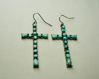 Turquoise earrings for women, Blue Turquoise Cross Earrings, Dangle, Drop, Cross Earrings On Sale, Jesus Earrings, Free Shipping to Canada