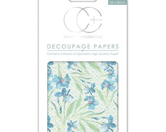 Paper patch (3 sheets) Blue Iris - CCDECP043